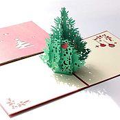 Открытки handmade. Livemaster - original item 3D postcard Christmas tree