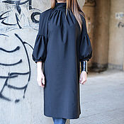 Одежда handmade. Livemaster - original item Tunic dress, Long black dress - DR0111PLV. Handmade.