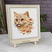 Картины и панно handmade. Livemaster - original item Painting cross stitch Red cat, cross stitch. Handmade.