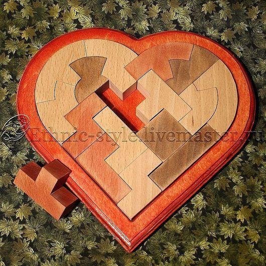 Подарки для влюбленных ручной работы. Ярмарка Мастеров - ручная работа. Купить Сердце (головоломка). Handmade. Бордовый, сердце, тетрис