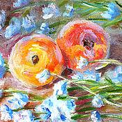 """Картины и панно ручной работы. Ярмарка Мастеров - ручная работа Картина """"""""Персики с цветами"""" бесплатная доставка, красный, голубой. Handmade."""