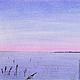 Пейзаж ручной работы. Ярмарка Мастеров - ручная работа. Купить Картина пастелью Зимний Этюд голубой розовый зима снег. Handmade.