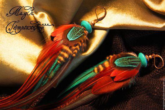 Серьги ручной работы. Ярмарка Мастеров - ручная работа. Купить Серьги коричнево-бирюзовые из перьев.. Handmade. Голубой, серьги длинные