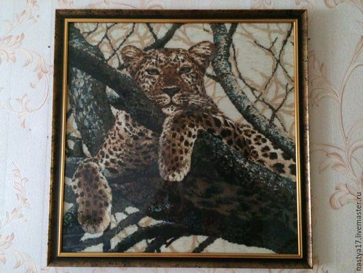 Животные ручной работы. Ярмарка Мастеров - ручная работа. Купить Леопард. Вышивка крестом. Handmade. Леопард, Вышивка крестом