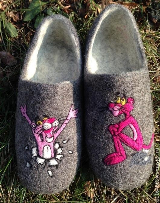 Обувь ручной работы. Ярмарка Мастеров - ручная работа. Купить домашние валяные тапочки из натуральной шерсти Розовая Пантера. Handmade.