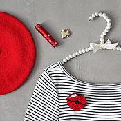 Украшения handmade. Livemaster - original item Embroidered brooch Red lips. Handmade.