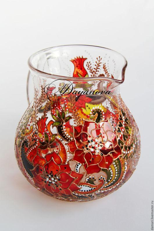 """Графины, кувшины ручной работы. Ярмарка Мастеров - ручная работа. Купить Кувшин стеклянный """"Нарядный красный"""". Handmade. Ярко-красный"""