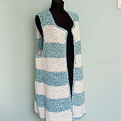 Одежда handmade. Livemaster - original item Vest white-turquoise