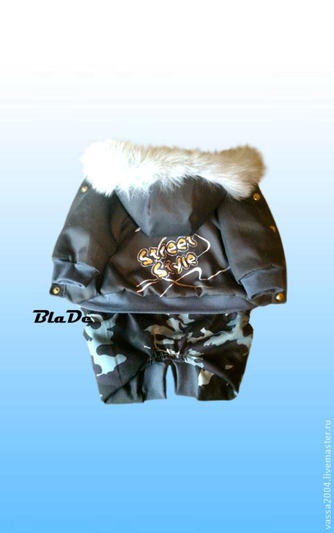 Одежда для собак, ручной работы. Ярмарка Мастеров - ручная работа. Купить Зимний комбинезон. Handmade. Темно-серый, теплая одежда