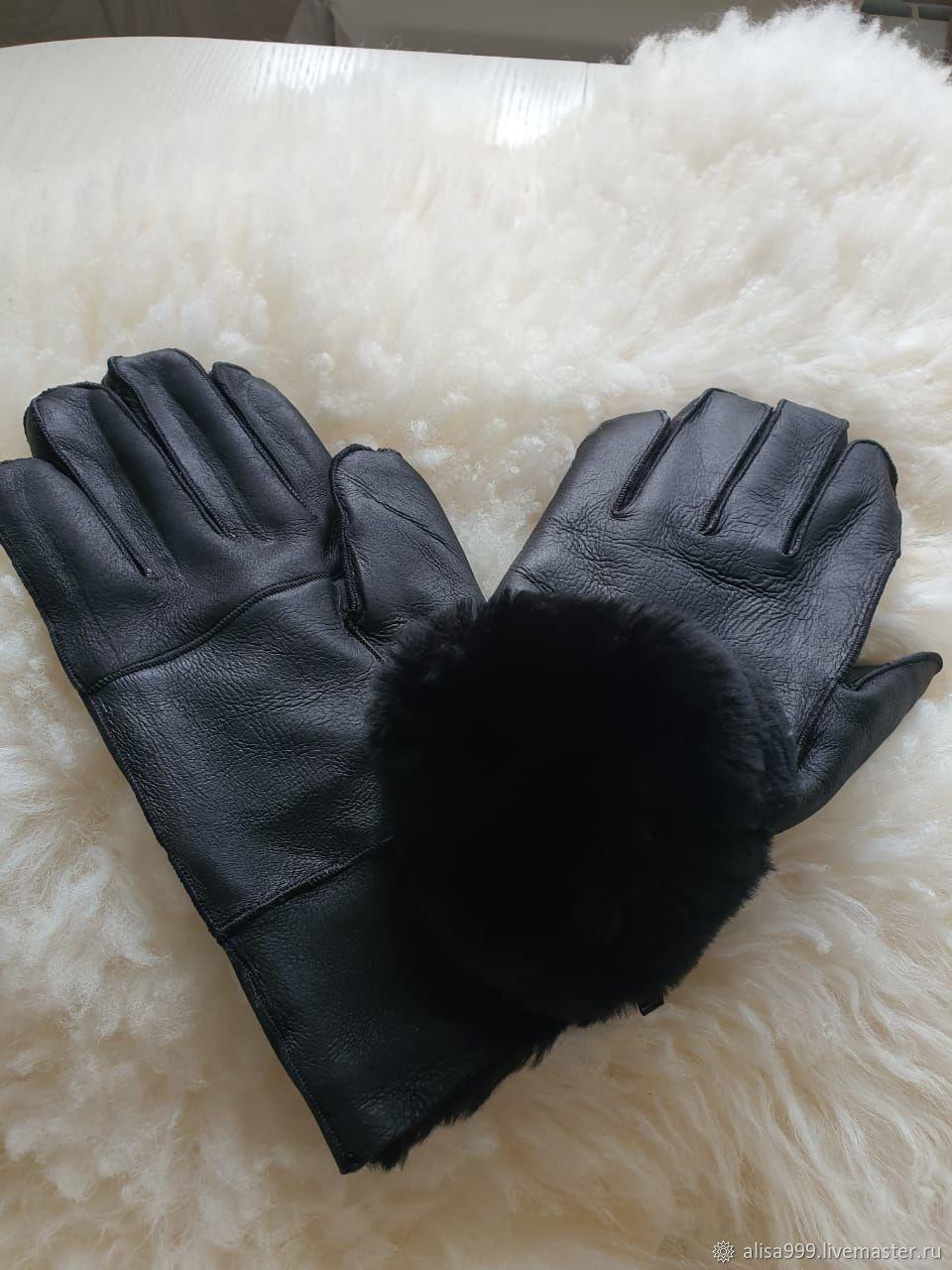 Кожаные перчатки из овчины мужские черные, Перчатки, Москва,  Фото №1