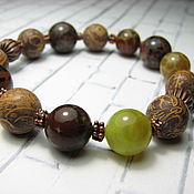 Украшения handmade. Livemaster - original item Bracelet with jasper, seashell and chalcedony