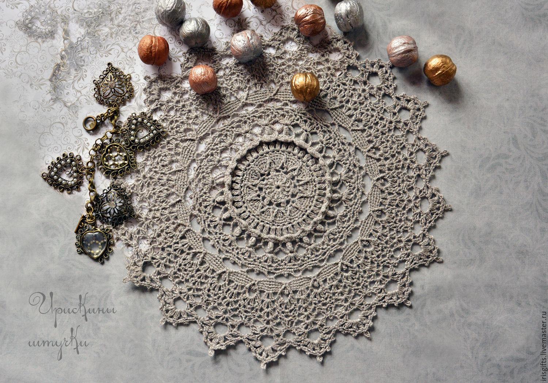 Салфетка крючком Винтажный лен, Текстиль ковры, Тамбов, Фото №1
