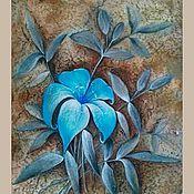 Картины и панно ручной работы. Ярмарка Мастеров - ручная работа Голубая лилия. Смешанная техника. Handmade.