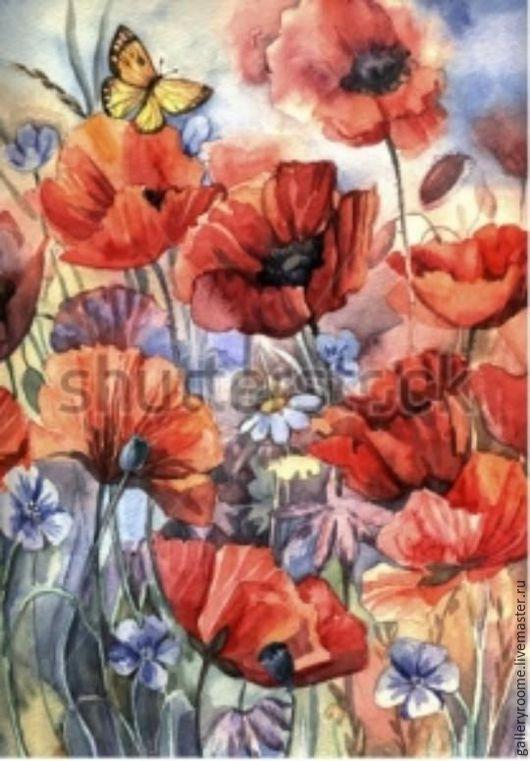 Другие виды рукоделия ручной работы. Ярмарка Мастеров - ручная работа. Купить Картина по номерам Прекрасные маки с бабочкой. Handmade.