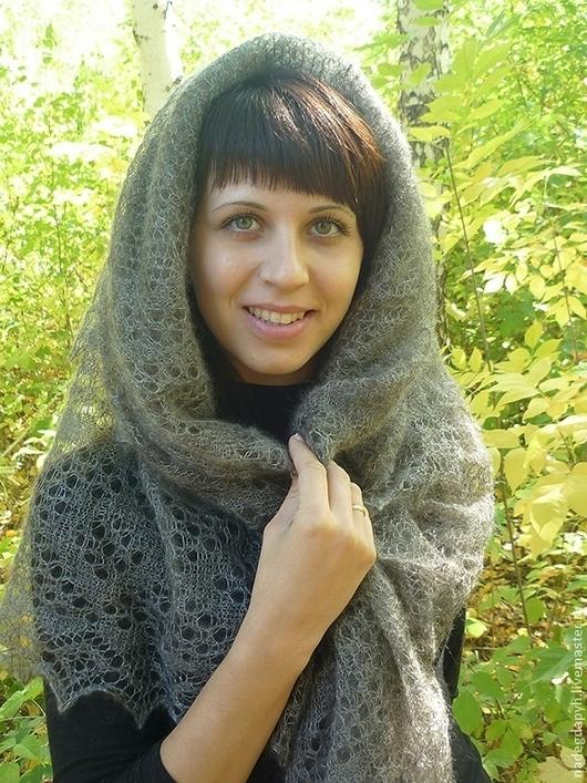 Шали, палантины ручной работы. Ярмарка Мастеров - ручная работа. Купить 36-паутинка пуховая серая Зимняя красота , платок , шаль , аксессуары. Handmade.