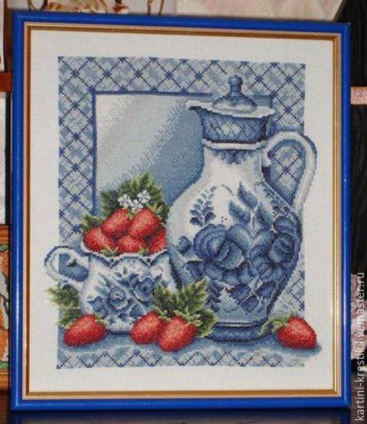 Натюрморт ручной работы. Ярмарка Мастеров - ручная работа. Купить Этюд для кухни 1 «Гжель». Handmade. Разноцветный, картина в подарок