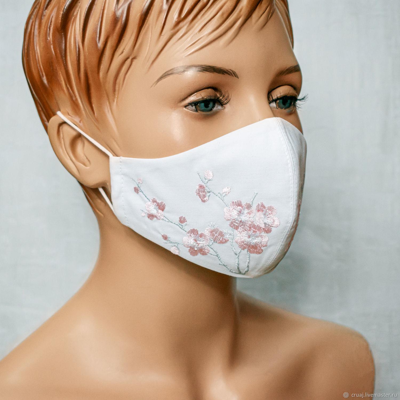 Маска с вышивкой. Белая – купить на Ярмарке Мастеров – MO0RWRU   Защитные маски, Новосибирск