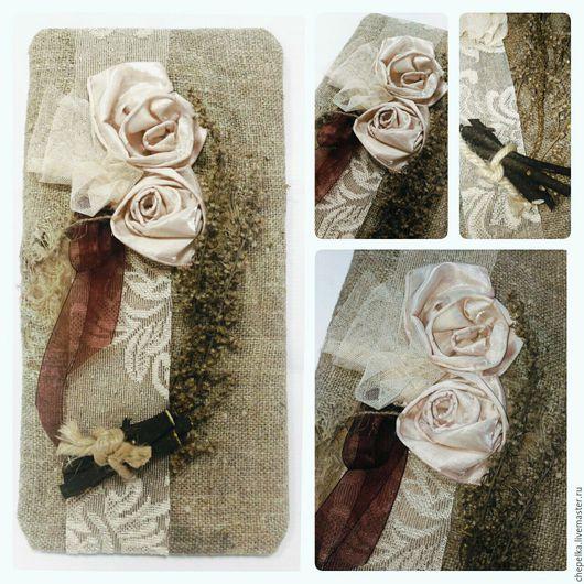Быт ручной работы. Ярмарка Мастеров - ручная работа. Купить Панно сухоцвет в стиле Рустик. Handmade. Оливковый, мешковина