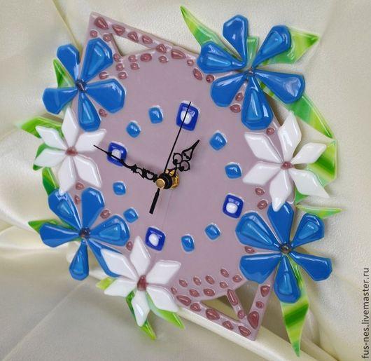 Часы для дома ручной работы. Ярмарка Мастеров - ручная работа. Купить Цветочные Фьюзинг. Handmade. Розовый, часы фьюзинг