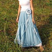 Одежда handmade. Livemaster - original item The floor-length skirt linen in Bohemian style. Handmade.