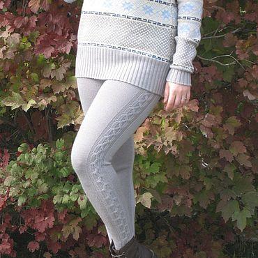 Одежда ручной работы. Ярмарка Мастеров - ручная работа Леггинсы вязаные с косичкой. Handmade.