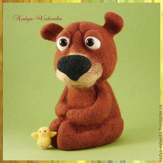 Игрушки животные, ручной работы. Ярмарка Мастеров - ручная работа. Купить Медведь и Цыплёнок (игрушки из войлока) интерьерная игрушка. Handmade.