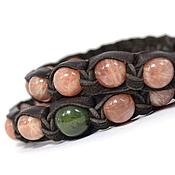 Украшения handmade. Livemaster - original item Set of Bracelets Shambala leather with sun stone and jade. Handmade.