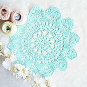 Для дома и интерьера handmade. Livemaster - original item Crochet doily, diameter 26 cm mint. Handmade.