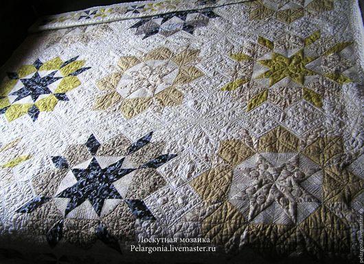 """Текстиль, ковры ручной работы. Ярмарка Мастеров - ручная работа. Купить Покрывало лоскутное """"Бриллианты""""(пэчворк,стеганое одеяло). Handmade. Золотой"""