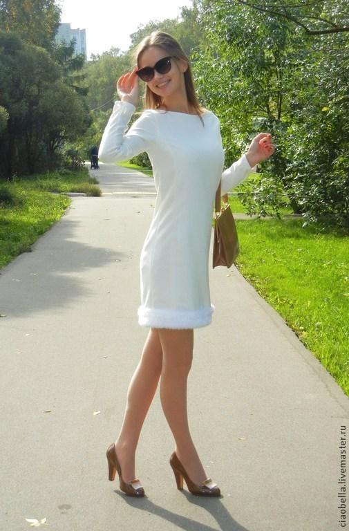 """Платья ручной работы. Ярмарка Мастеров - ручная работа. Купить Платье прямое """"Cinema"""". Handmade. Белый, зимнее платье"""