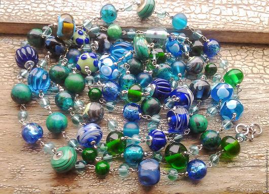"""Колье, бусы ручной работы. Ярмарка Мастеров - ручная работа. Купить Двойные бусы """"Водопад"""". Handmade. Бусы, синий, голубой"""