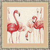 Картины и панно ручной работы. Ярмарка Мастеров - ручная работа Фламинго. Ручная вышивка.. Handmade.