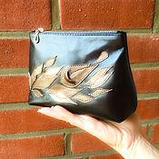 Сумки и аксессуары handmade. Livemaster - original item Cosmetic bag with flowers made of genuine leather Gifts for women. Handmade.