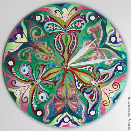 """Часы для дома ручной работы. Ярмарка Мастеров - ручная работа. Купить Часы """"Бабочки"""". Handmade. Морская волна, бабочки, стекло"""