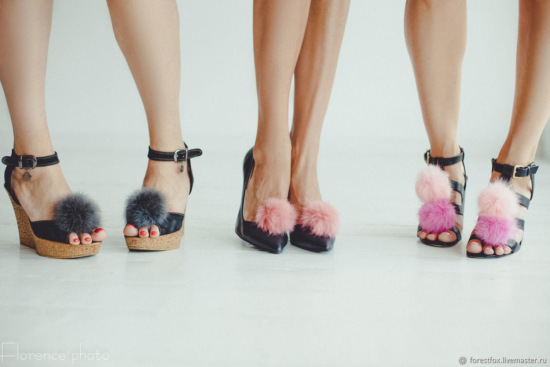 Меховые помпоны для обуви, мех для обуви