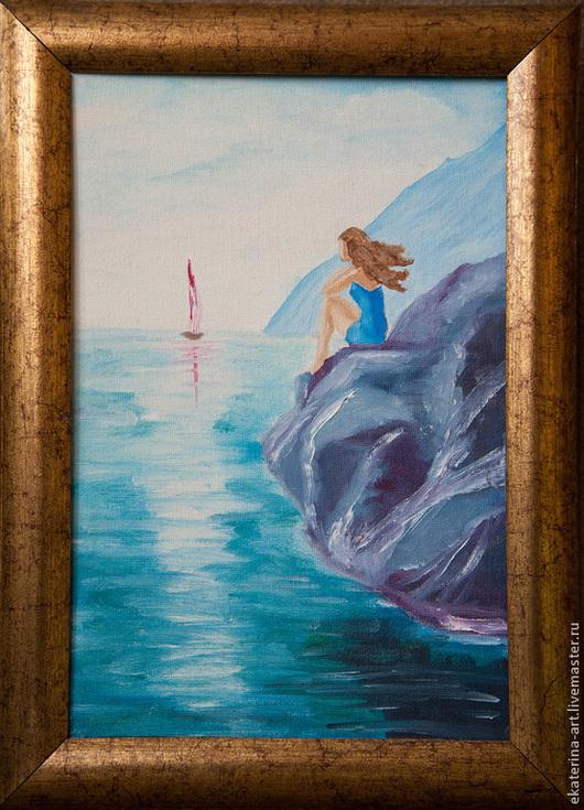 Люди, ручной работы. Ярмарка Мастеров - ручная работа. Купить Девушка у моря. Handmade. Тёмно-бирюзовый, море, девушка у моря