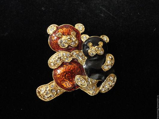 """Винтажные украшения. Ярмарка Мастеров - ручная работа. Купить Винтажная брошь """"Мишки Тедди"""". Handmade. Комбинированный, мишка тедди брошь"""