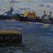 Картины и панно ручной работы. Ярмарка Мастеров - ручная работа Кронштадт. Корабли на рейде.. Handmade.