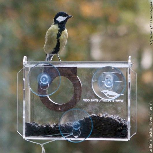 Кормушка для птиц на стекло `Фотокамера`