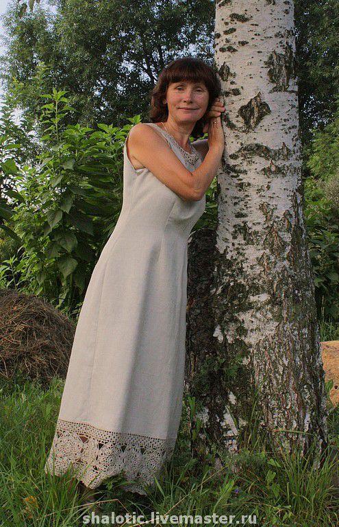 Льняной сарафан  с кружевом, летнее платье,  льняное платье, автор  Юлия Льняная сказка