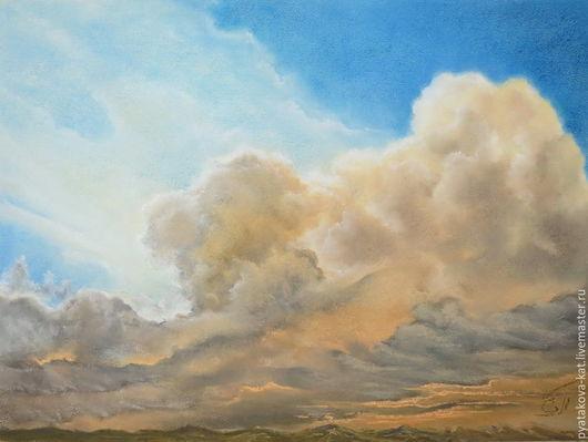 Пейзаж ручной работы. Ярмарка Мастеров - ручная работа. Купить Выше облаков. Пастель. Handmade. Картина пастелью, небо, солнечный