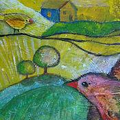Картины и панно ручной работы. Ярмарка Мастеров - ручная работа Картина коллаж Три  тополя  на  плющихе  птица резерв. Handmade.