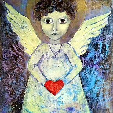 Pictures and panels handmade. Livemaster - original item Guardian angel painting gift. Handmade.