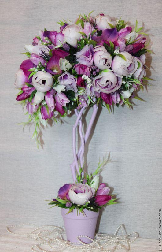 Топиарий `Весна` из текстильных цветов с нестандартной кроной. Ручная работаю Сделано с любовью! Юлия Бельская.