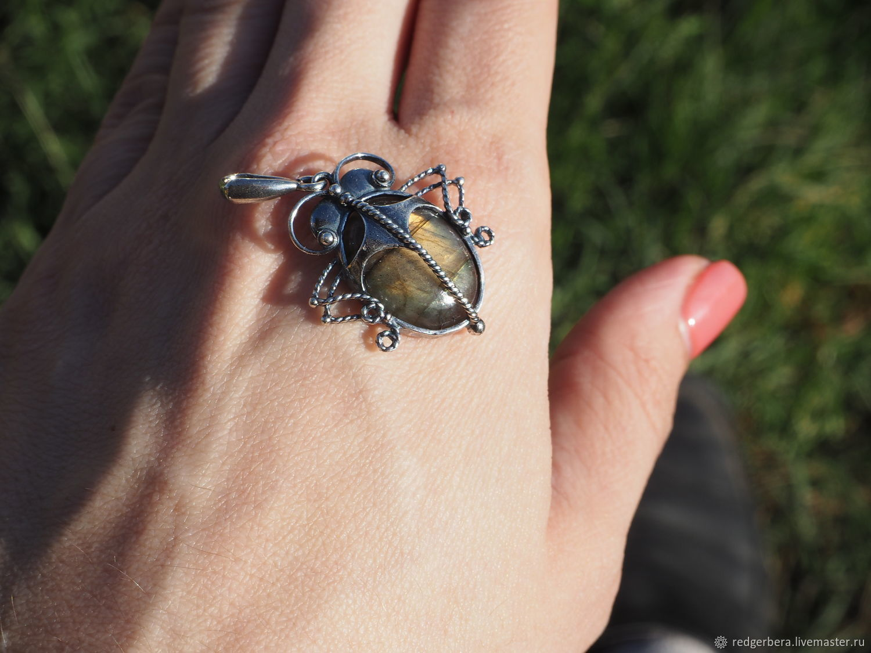 Pendant beetle labradorite, silver 925 microns, Pendants, Kostroma,  Фото №1