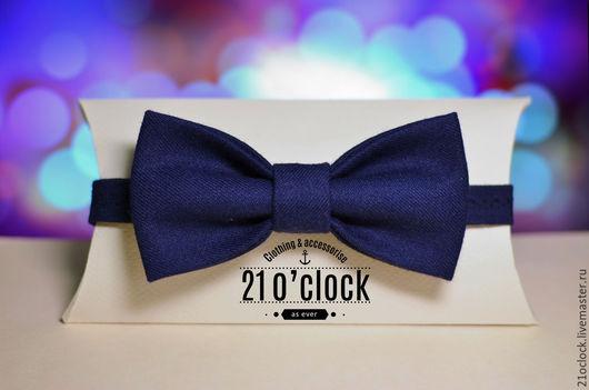 Галстук-бабочка синего цвета из шерсти от творческой мастерской 21 o`clock. Бабочка на заказ и в наличии, галстук-бабочка синяя классическая, бабочка на свадьбу, галстук, оригинальная бабочка
