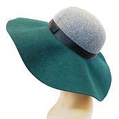 Винтаж handmade. Livemaster - original item Hat with a wide brim made of 100% wool gray-green color. Handmade.