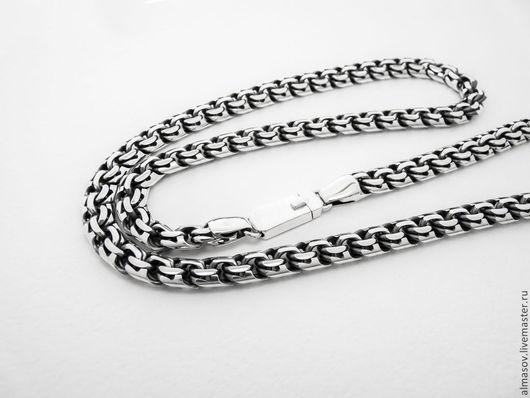 Серебряная цепь бисмарк шириной 8.5 мм. без гравировки на замке.