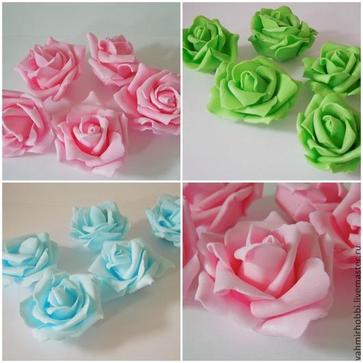 Другие виды рукоделия ручной работы. Ярмарка Мастеров - ручная работа. Купить Роза б/стебля (латекс)  5 см +( белый и айвори). Handmade.