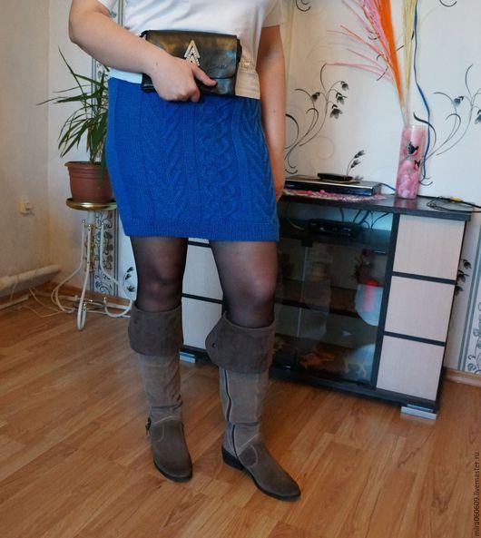 Юбки ручной работы. Ярмарка Мастеров - ручная работа. Купить Вязаная юбка спицами. Handmade. Синий, короткая юбка
